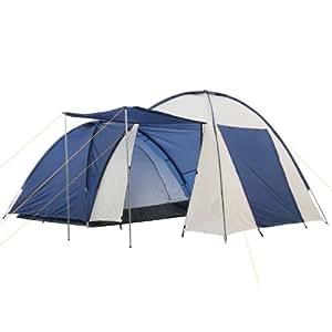 CampFeuer - Kuppelzelt mit grossem Vorbau (4 Personen), Farbe: Blau/Cremeweiß, Camping, Igluzelt