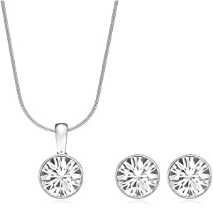 """Glamour Set """"Diamond"""" mit weißem Swarovski-Kristall 925 Silber rhodiniert"""