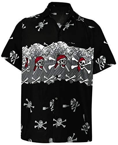 Strandhemd Hawaiihemd Kurzarm Urlaub Hemd Freizeit Reise Hemd Party Hemd Hawaii Front-Tasche Halloween Hemd Schwarz_W155 XS ()