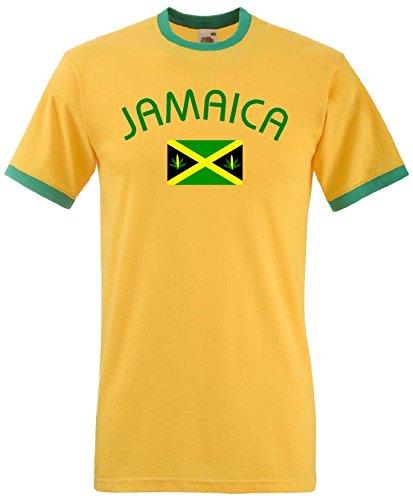 Jamaica /Jamaika Ringer T-Shirt Reggea Kingston-Gelb-XL (Gelb Sicherheit T-shirt)