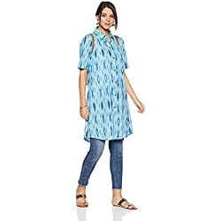 Indi lite Women's Shirt Kurta (ILIK3B_Light Blue_Small)