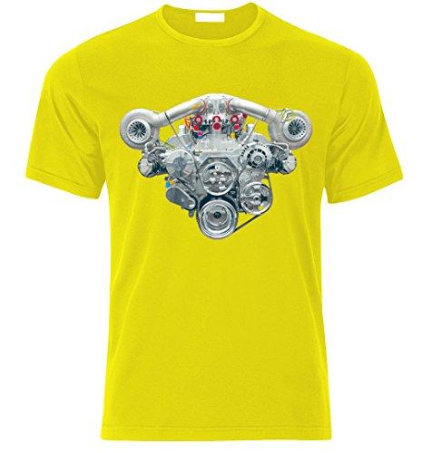 V8 HEMI TWIN TURBO ENGINE CAMARO MUSTANG CHALLENGER SHELBY GT T-shirt size S-XXL Gelb