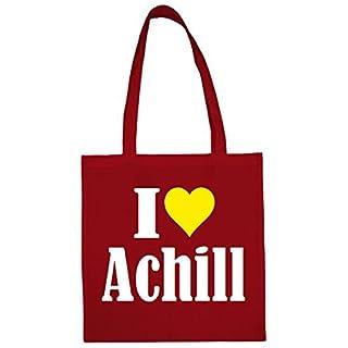Tasche I Love Achill Größe 38x42 Farbe Rot Druck Weiss