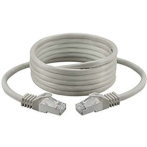 Câble réseau Ethernet catégorie 6 - S/FTP, PIMF - Sans halogène - 250MHz - Pour lecture en streaming/télévision IP/lecteurs multimédia/récepteurs satellite/serveurs de réseau/ordinateurs de bureau - Câble Ethernet ultra rapide avec connecteurs dorés