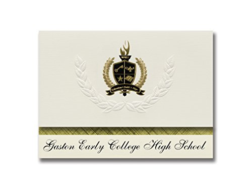 Signature Announcements Gaston Early College High School (Dallas, NC) Schulabschlussankündigungen, Präsidential-Stil, Grundpaket mit 25 goldfarbenen und schwarzen metallischen Folienversiegelungen - Dallas Nc