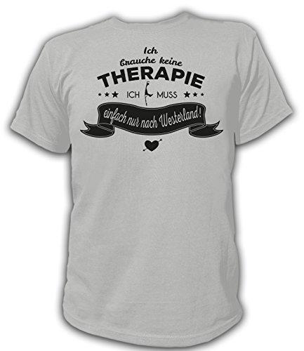 Artdiktat Herren T-Shirt Ich brauche keine Therapie - Ich muss einfach nur nach Westerland Grau