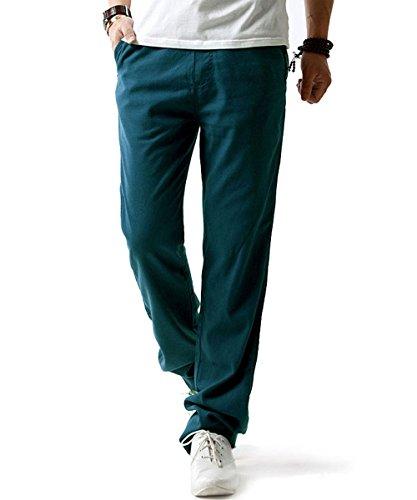 donhobo Herren Hosen Leinen mit Seitentaschen Lässige Hose Loose Freizeithose(Blau,XL) (Herren Xl Lässiges)