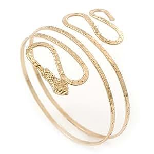 Bracelet brassard serpent plaqué or martelé - jusqu'à 27 cm haut du bras