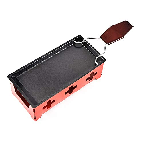 Fablcrew 1Pcs Mini Appareil à Raclette à Bougie Chauffe-Plat Pliable à Raclette pour 2 Personnes (Rouge)