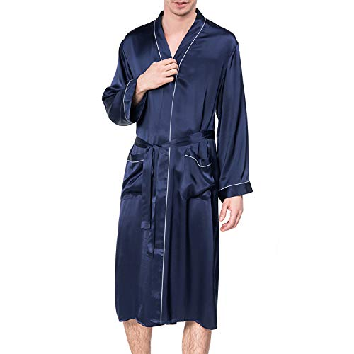 COLD POSH Bademantel Herren Morgenmantel Lang Satin Nachtwäsche Seide Kimono Sleepwear Robe Schlafanzüge für Herren Blau -