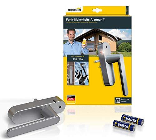 Schellenberg 46513 Fenstergriff mit Alarmfunktion, Balkontürgriff, Smart Home Funk-Alarmgriff - für mehr Sicherheit, lauter Alarm, 32 - 43 mm Vierkantlänge - stufenlos einstellbar