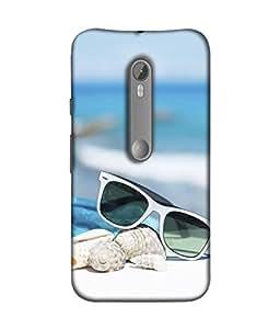 PrintVisa Designer Back Case Cover for Motorola Moto X Style :: Moto X Pure Edition (Sea Side Trendy Sunglasses Sea Shells)
