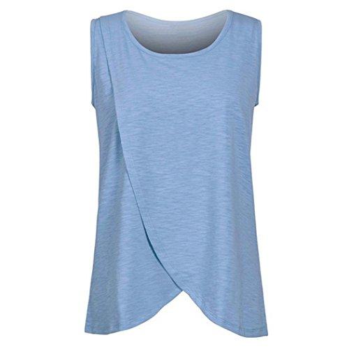 Stilltop Forh Damen Still-Wrap Top Cap Ärmellos Tanktops Klassisch Basic Doppelschicht Bluse T-Shirt Bequem Umstandsmode Schwangerschaft Umstandsshirt Unterwäsche Still-Shirt (Blau, S)
