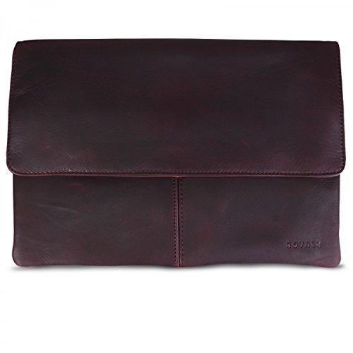ROYALZ Leder Tasche für Apple Macbook 12 Zoll Lederhülle (ab 2015) mit Retina Display Notebook Schutztasche Sleeve Retro Vintage Look, Farbe:Dunkelbraun (Leder 12)