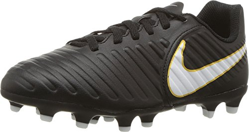 NIKE Kids Jr. Tiempo Rio IV (FG) Firm Ground Soccer Cleat Black/White Size 12 Kids US (Kids Nike Cleats Soccer)