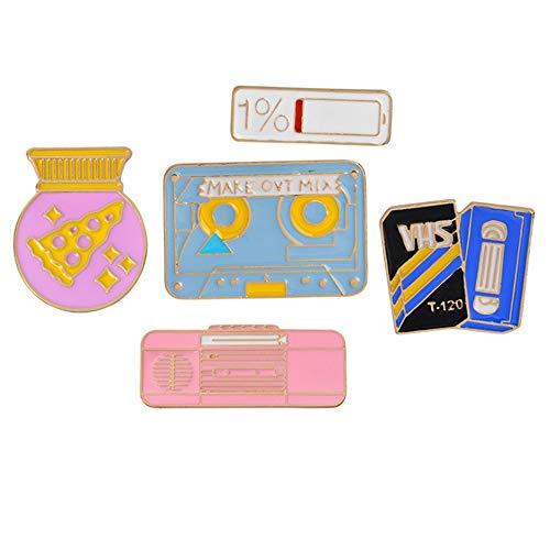 MHKJ Stilvolle 5 Stücke Set Audio Tape Recorder Kleine Brosche Pins Revers Pin Set Für Kleidung Taschen Rucksack Jacken Abzeichen Pins Für Erwachsene Jungen Mädchen -