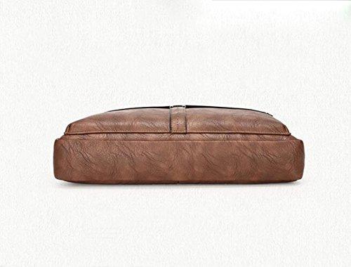 Aktenkoffer-Mannbeutel-Lederhandtasche Horizontale Geschäftspaket-Schulter Kuriertasche Brown