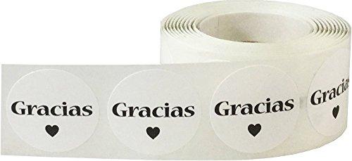 Blanco Circulo con Negro Gracias Pegatinas, 25 mm 1 Pulgada Redondo, 500 Etiquetas en un Rollo