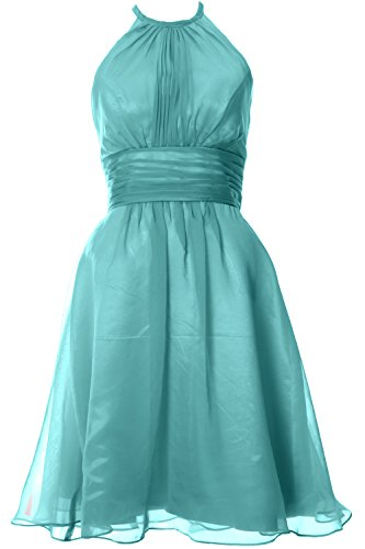 MACloth Women Halter Short Bridesmaid Dress Wedding Party Cocktail Formal Gown Turquoise