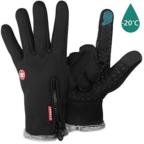 Geeric guanti invernali, impermeabili guanti da moto per uomo donna guanti spesso con felpa antivento termici impermeabili guanti sportivi da sci/bici/alpinismo con touch screen unisex nero-xl
