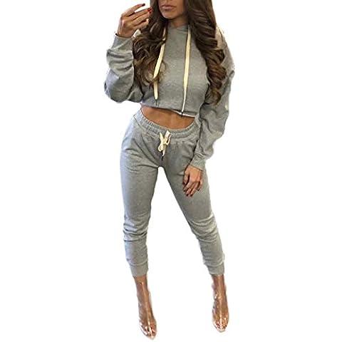 Sannysis Damen Kapuzenpullover Split Clubwear Bodycon Casual Outfit Sportbekleidung Set