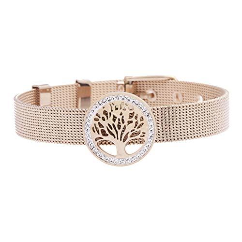 Inscintille bracciale con maglia milano in acciaio rosa e albero della vita