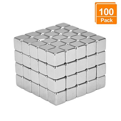 eLander Neodym-Super-Magnete Würfel 5 x 5 x 5 mm [100 Stücke] Sehr starke Magnete für Glas-Magnetboards, Magnettafel, Whiteboard, Tafel, Pinnwand, Kühlschrank, und vieles mehr (Papier-geld-falle)