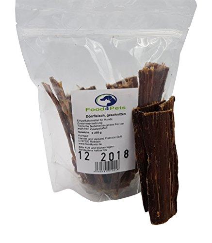 Rinder Dörrfleisch Kausnack für Hunde 250g - im praktischen wiederverschließbaren Beutel, der natürliche Kausnack für ihren Hund