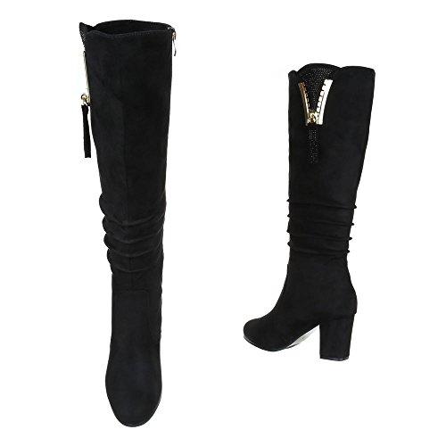 High Heel Stiefel Damenschuhe Klassischer Stiefel Pump Strass Besetzte Reißverschluss Ital-Design Stiefel Schwarz