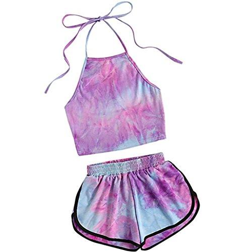 TUDUZ Shorts und Top Sets Damen Sommer Strand Zweiteiler Neckholder Beachwear Chiffon Crop Tops Chiffon Neckholder Shorts
