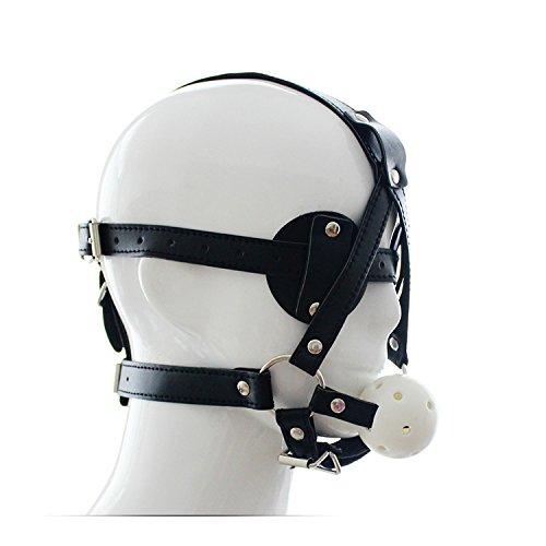 Leder Face Cover Breathable Blindfold Mask Open Mundball-Gag Cosplay Kostüm Sex Suit Headgear Adult Games (Adult Sex Kostüme)