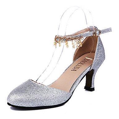 Moda Donna Sandali Sexy donna tacchi tacchi estate pu Casual Stiletto Heel fibbia argento / Oro Altri golden