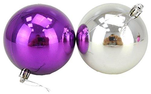 10 Extra Large 100mm Violet & Silver Babioles - Arbre de Noël Décorations