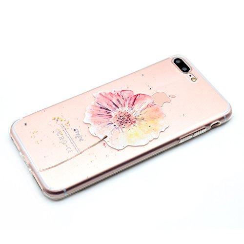 Cover iPhone 7 Plus,Cover iPhone 7 Plus,Custodia iPhone 7 Plus Cover,ikasus® iPhone 7 Plus disegno colorato TPU con Rosa girasole Custodia Cover [Crystal TPU] [Shock-Absorption] Protettiva Trasparente modello fiori