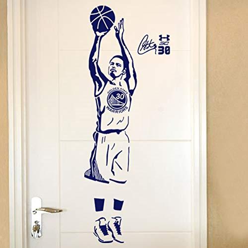 Wandtattoos, Wandtattoos, Wandkunst, Wandtattoos, Sports Star Basketball Players Wandtattoos Curry-Aufkleber für Jungenzimmer und Schule Einfache Paste mit abnehmbaren 44x120 cm