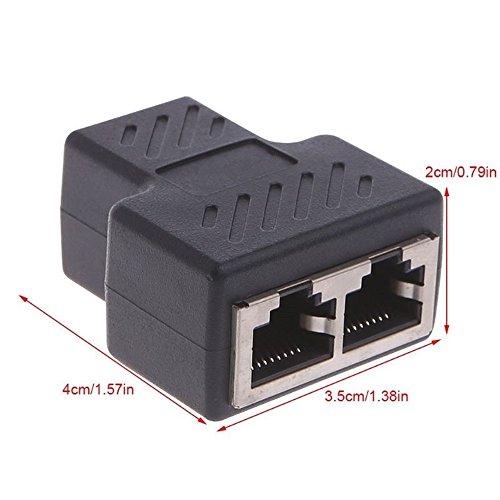YouJi RJ45 Netzwerk Splitter Adapter 1 zu 2 Weiblichen Port Ethernet Kabel Splitter CAT 7 / CAT 6 / CAT 5 LAN Ethernet Buchse Splitter Erweiterung Stecker Sharing Kit für Router TV BOX Kamera PC - Ethernet-schnittstellen-kit