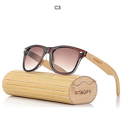 DAIYSNAFDN Retro Bambus Holz Sonnenbrille Männer Frauen Designer Brille Gold Spiegel Uv400 Eyewear C3