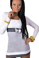 Damen Top Tunika Minikleid Sexy Pailletten & Schleife Langärmel 34 36 38 40 42