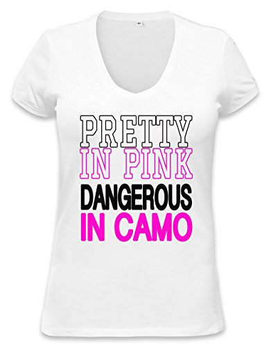 Pretty In Pink Dangerous In Camo Slogan Womens V-neck T-shirt XX-Large
