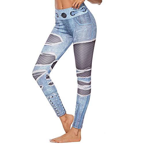 MEIbax Leggings Deportes Pantalones para Mujeres de Rotos Vaqueros y Negro Medias Redes de Pesca Estampado Athletic Gimnasio Fitness Gym Yoga de Cintura Alta Skinny Casual Mallas elásticas
