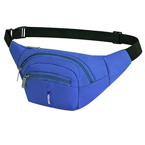 Yooluan Wasserdichte Gürteltasche Bauchtasche 3 Reißverschluss Taschen Wandern Outdoor Sport Hüfttasche Urlaub Geld Pouch Pack für Damen und Herren (Dunkelblau)