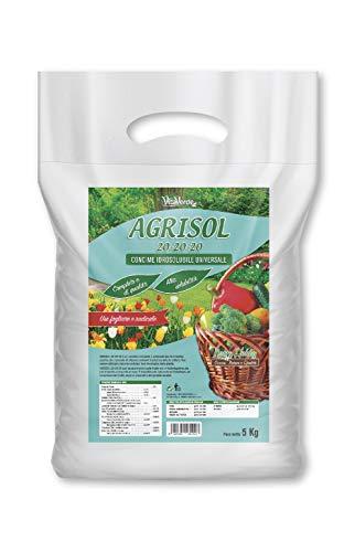 AGRISOL 20-20-20, concime polvere solubile per piante e fiori, kg 5, Vitaverde