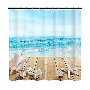 3D Cortinas de Ducha Resistente al Moho Impresión de Mar Azul Cortina de Bañera Baño Impermeable Tela Original Divertida Decorativo Protección de Privacidad Casa y Hotel 180x180cm con 12 Ganchos (Mar)