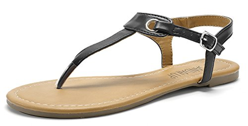 SANDALUP Flache Sandalen mit Metallschnalle für Damen,  Schwarz,  42 EU (9 UK) - Flache Schwarze Frauen Sandalen