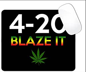 420 Blaze It Rasta Colors Font Weed Plant Mouse Pad (SQUARE)