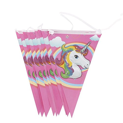 Trixes 10flaggige Unicorn Wimpelgirlande für Kindergeburtstage mit 10 Einhorn Wimpeln Flaggen