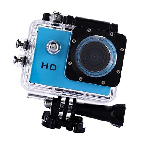 H HILABEE Action Cam 1080p HD Unterwasser Kamera Weitwinkel Helmkamera Wasserdicht mit Zubehör Kit für Outdoor Sport, Blau