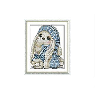 The Mini Rabbit Cross Stitch Kit Bunny Aida 14ct 11ct Count Printed Canvas Stitches Embroidery DIY Handmade Needlework,Yellow,Cotton Thread,14ct Print Canvas