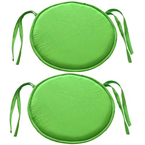 Bechases, cuscino rotondo per sedia, con lacci, per casa, ufficio, giardino, patio, caffè, confezione da 2 green