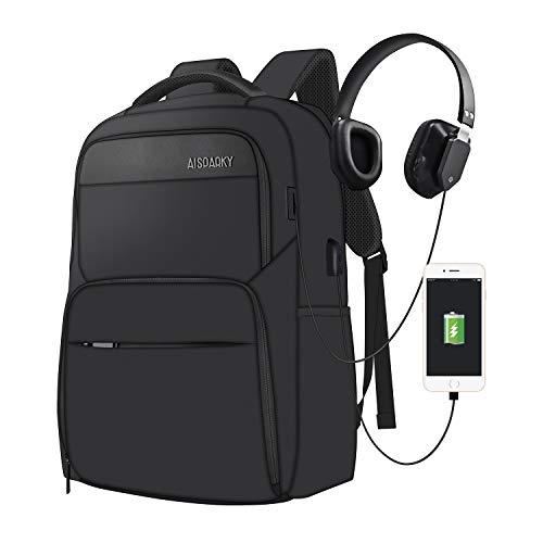 Laptop Rucksack Computer Rucksack für 15.6 Zoll Laptop Schulrucksack Unisex Daypack mit USB-Ladeanschluss für Arbeit Wandern Reisen Camping,für Business,Schwarz
